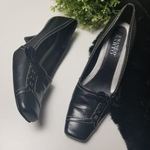 Franco Sarto Leather Heels Velvet Ribbon Bow